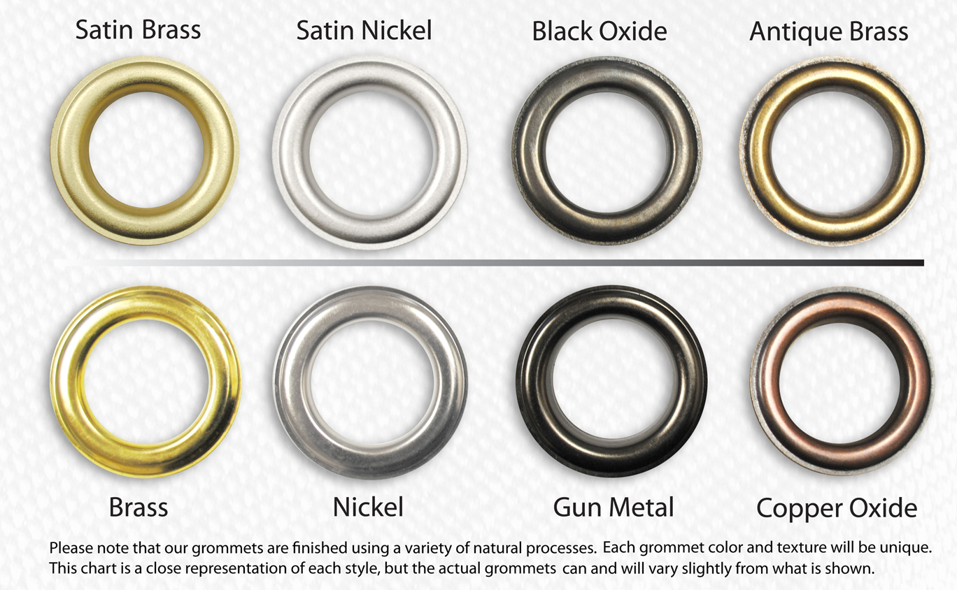 "Click here for a color chart showing all 8 grommet color finishes of  non-rusting, solid brass ClipsShop #12 (40mm, 1-1/2"" ID 1.5"" hole size),  #8.5 (28mm, ..."